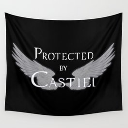 Protected by Castiel White Wings Wall Tapestry