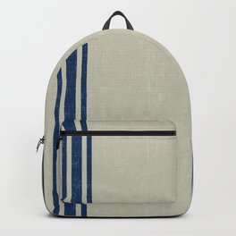Blue Stripes on Linen color background French Grainsack Distressed Country Farmhouse Backpack