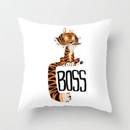 Tiger Boss Throw Pillow