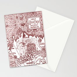 Map of Bohemia (red) Stationery Cards
