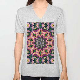 Abstract colorful Heart Flower Seamless Pattern Vector illustration Unisex V-Neck