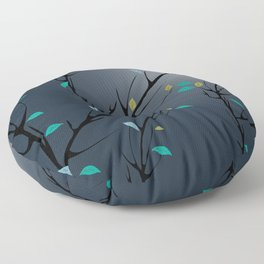 Nightingale singing in the night sky under the moonlight Floor Pillow