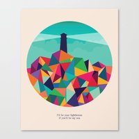 sayings Canvas Prints featuring I'll be your lighthouse if you'll be my sea by Picomodi