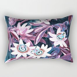 Pink Teal Blue Passion Flowers Temple of Flora Rectangular Pillow