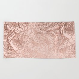 Modern rose gold floral illustration on blush pink Beach Towel