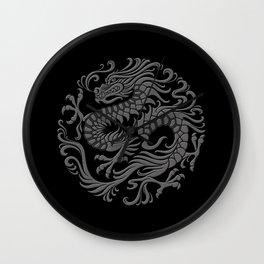 Traditional Gray and Black Chinese Dragon Circle Wall Clock