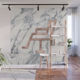 Rose Gold Salon Chair on Marble Background - Salon Decor Wall Mural