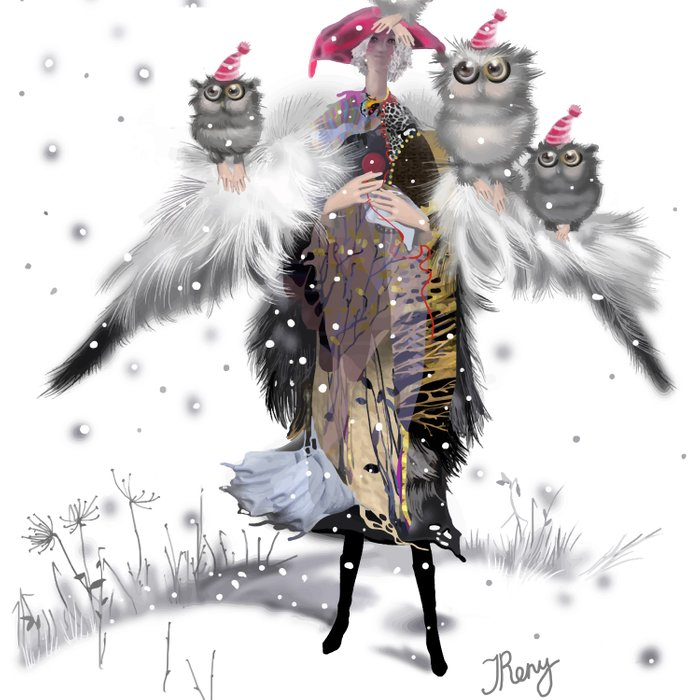 woman with wings, holding four owls, walking through the snowy forest Comforters
