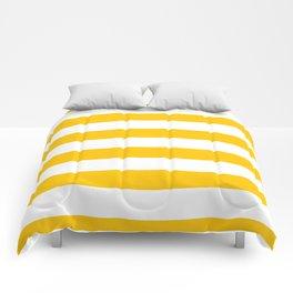 Aspen Gold Yellow and White Wide Horizontal Cabana Tent Stripe Comforters