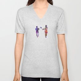 Rugby men players 04 in watercolor Unisex V-Neck