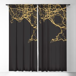 NAPLES ITALY GOLD ON BLACK CITY MAP Blackout Curtain