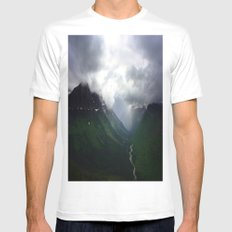 Mystic Mountains MEDIUM Mens Fitted Tee White