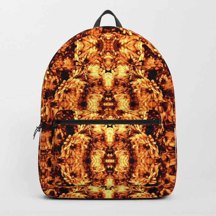 Brown Yellow  Flower Pattern Backpack