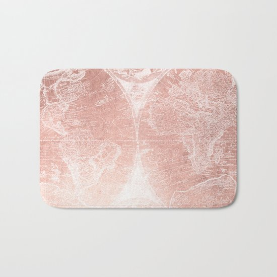Antique World Map White Rose Gold Bath Mat