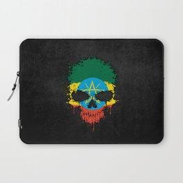 Flag of Ethiopia on a Chaotic Splatter Skull Laptop Sleeve