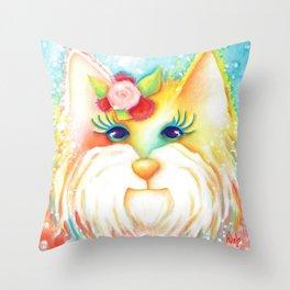 Girl Dog West Highland White Terrier Franny Original Art  Throw Pillow