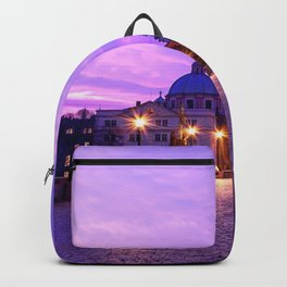 Historic Charles Bridge In Prague Czech Republic Purple Shade Ultra HD Backpack