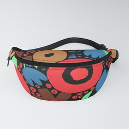 Bold Abstract Floral Inspired Pattern (Red, Ochre, Blue, Green, Brown) Fanny Pack