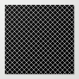 Dotted Grid 45 Black Canvas Print
