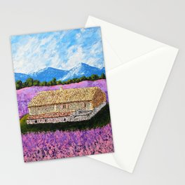 Provincial Farm by Mike Kraus - art france french house home lavender flowers europe mountains sky Stationery Cards