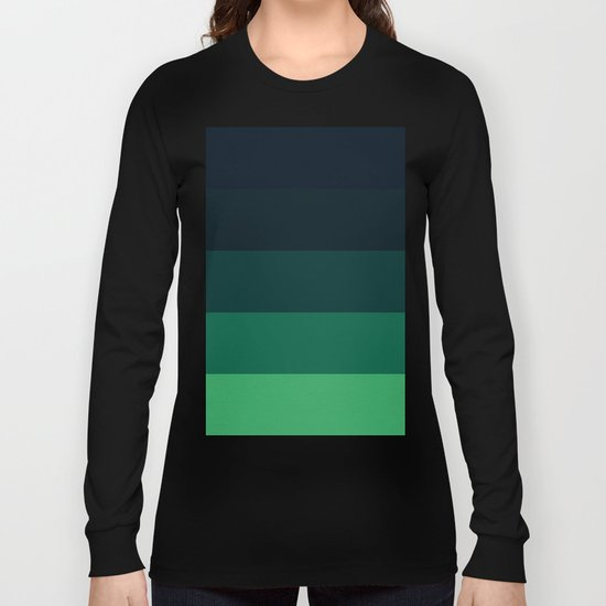 Forest Green Stripes Long Sleeve T-shirt