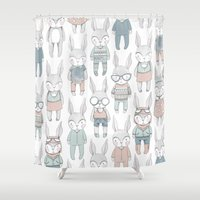bunnies Shower Curtains featuring BUNNIES by Catalina Graphic
