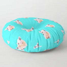 Baby Pig Turquoise Background Floor Pillow