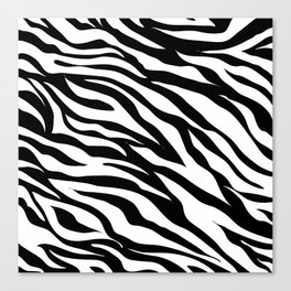 modern safari animal print black and white zebra stripes Canvas Print