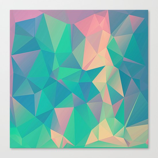 Fractured, Colorful Triangles Geometric Shapes Canvas Print