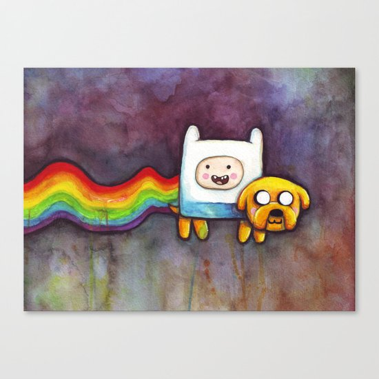 Nyan Time with Jake and Finn Canvas Print