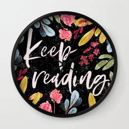 Keep Reading - Black Wall Clock