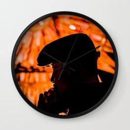 Face profile orange Wall Clock