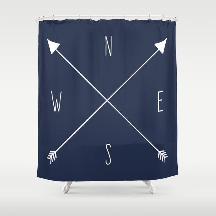Navy Compass Shower Curtain