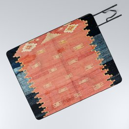 South West Anatolia  Antique Turkish Niche Kilim Print Picnic Blanket