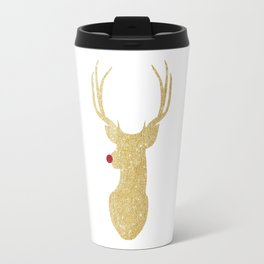 Rudolph The Red-Nosed Reindeer | Gold Glitter Travel Mug