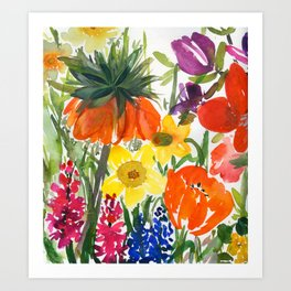 daffodils and hyacinths: watercolor painting Art Print