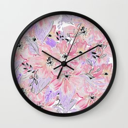 Modern pastel lilac pink watercolor flowers Wall Clock