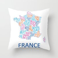 france Throw Pillows featuring France by Alexandra Dzh