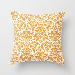 Elegant Damask Pattern (orange) Throw Pillow