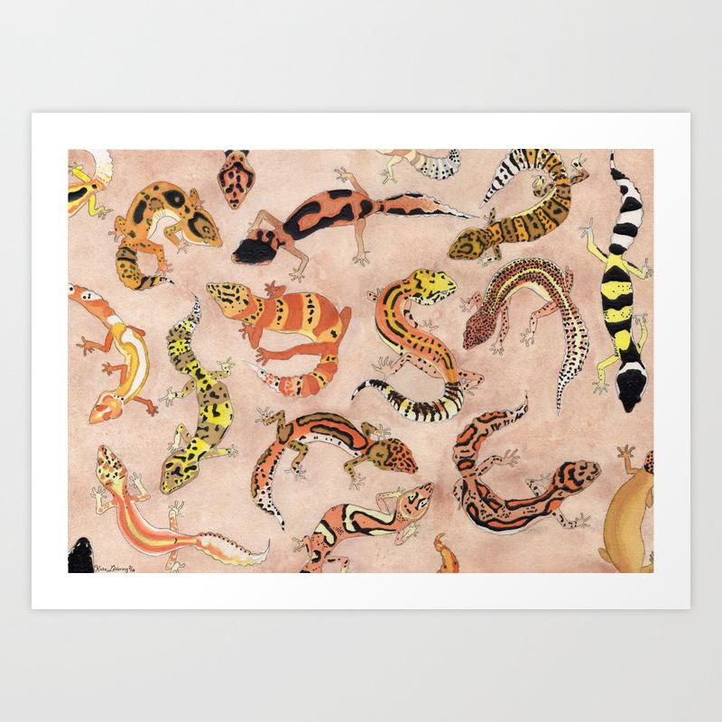 Leopard Gecko Lizard Morphs Art Print