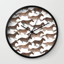 Running Watercolor Horses Brown Wall Clock
