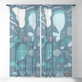 Sea creatures 004 Sheer Curtain