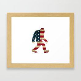 Bigfoot american flag Framed Art Print