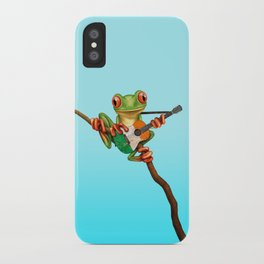 Tree Frog Playing Acoustic Guitar with Flag of Ireland iPhone Case