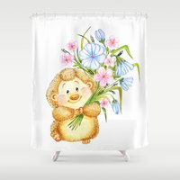 hedgehog Shower Curtains featuring  Hedgehog by Daria Kotyk