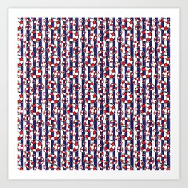 Nautical Red and White Lifebelts on Navy Blue Stripes Art Print