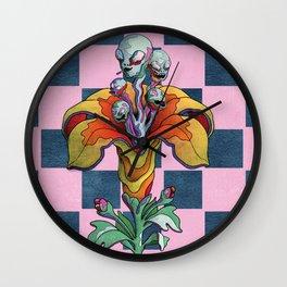 Alien Flowers Wall Clock