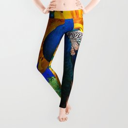 #2 BLUE PEACOCK &  SUNFLOWERS BLUE MODERN ART Leggings