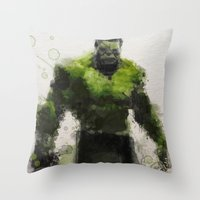 water colour Throw Pillows featuring Water Colour Hulk by Scofield Designs