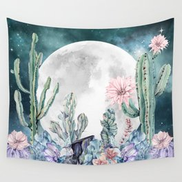 Desert Nights Gemstone Oasis Moon Wall Tapestry